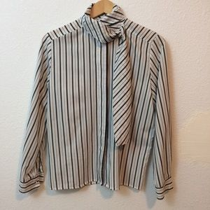 Vintage striped pussybow front tie blouse
